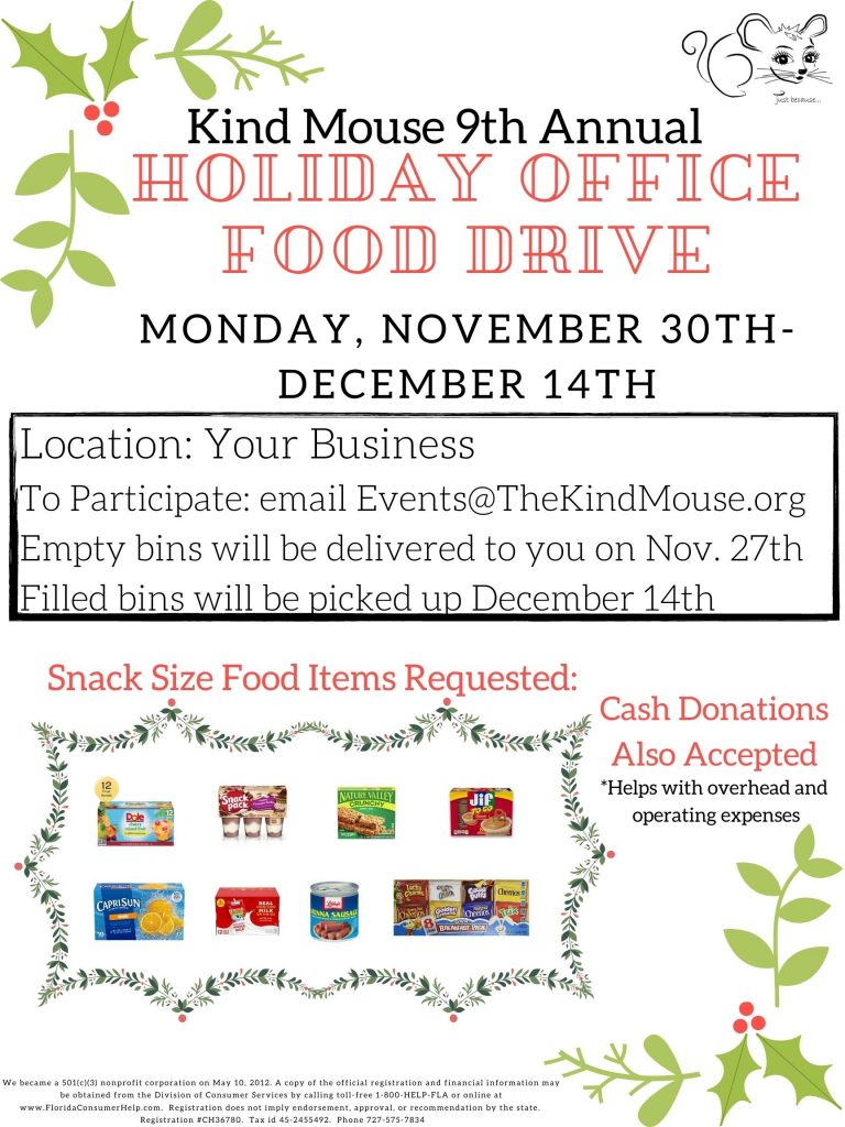 host a holiday food drive for hungry children